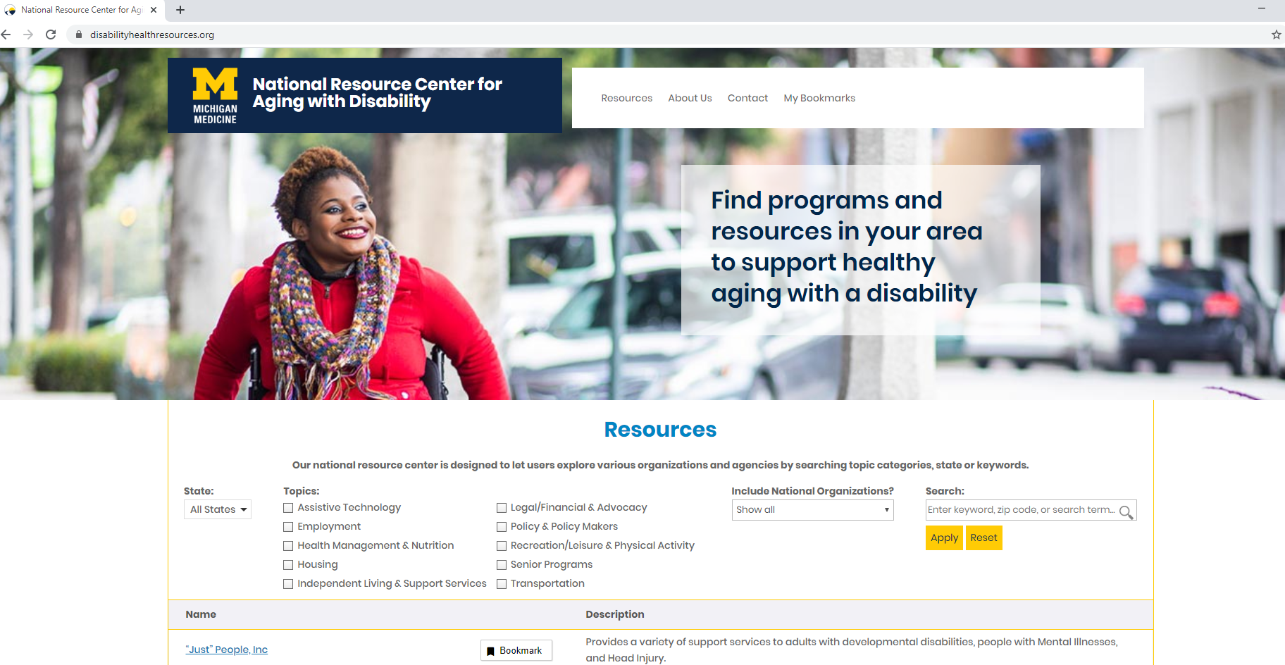 National Resource Center Home Page screen shot