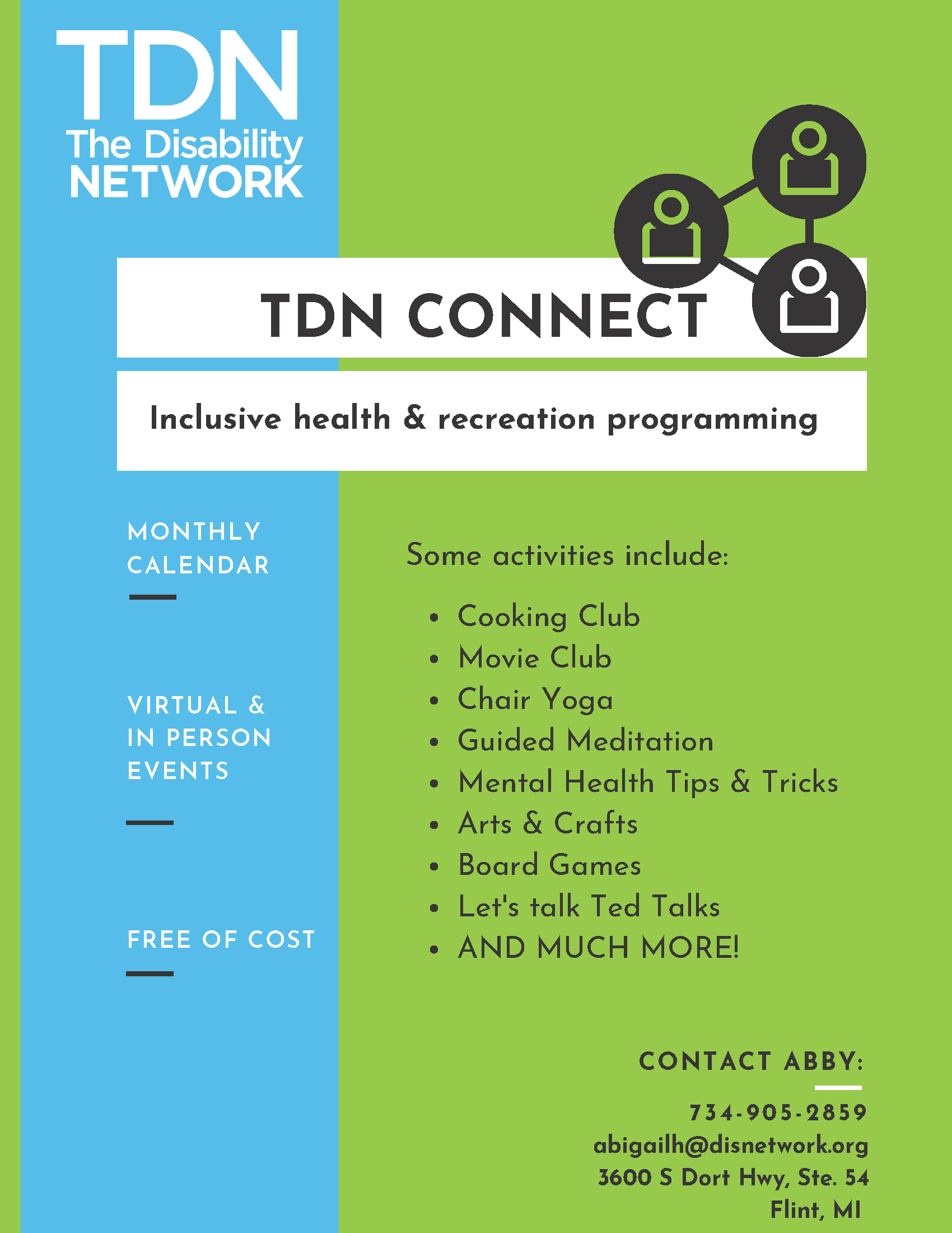 Flyer describing The Disability Connect programming. Full details are described next.
