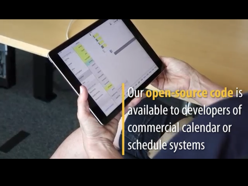 ipad with text Our open-source code is available to developers of commercial calendar or schedule systems