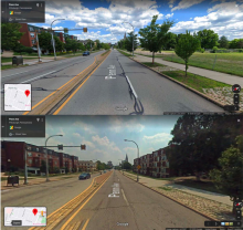 Google Street view images of two Pittsburg neighborhood streets