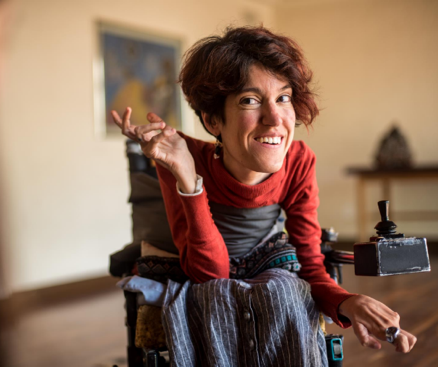 Woman smiling in wheelchair